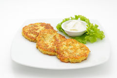 Potato cutlets with sour cream Royalty Free Stock Photos