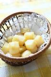 Potato dice. Diced potato, removed the skin royalty free stock image