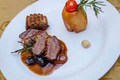Potato with duck breast in candied fruits souce. Potato with duck breast candied fruits souce plating Stock Photo