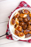 Potato dumplings with meat meatballs. Royalty Free Stock Image