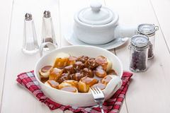 Potato dumplings with meat meatballs. Stock Photos