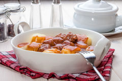 Potato dumplings with meat meatballs. Royalty Free Stock Images