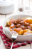 Potato dumplings with meat meatballs. Stock Images