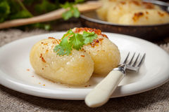 Potato dumplings stuffed with minced meat. Royalty Free Stock Images