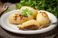 Potato dumplings stuffed with minced meat. Royalty Free Stock Photos
