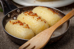 Potato dumplings stuffed with minced meat. Royalty Free Stock Photography
