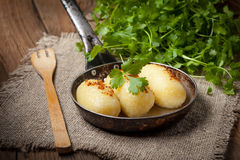 Potato dumplings stuffed with minced meat. Royalty Free Stock Photo