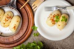 Potato dumplings stuffed with minced meat. Stock Photos