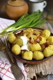 Potato dumplings - traditional dish of belorussian and polish cu Royalty Free Stock Photo