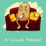 Potato eating chips on couch Royalty Free Stock Photo