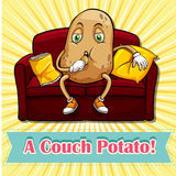 Potato eating chips on couch Royalty Free Stock Images