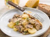 Potato with edible mushroom and cheese Stock Photos