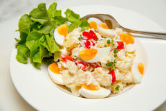 Potato  and eggs salad vegetarian salad Stock Photo
