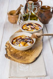 Potato emulsion with octopus and paprika sauce Stock Images