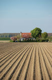 Potato farmland spring house Royalty Free Stock Image