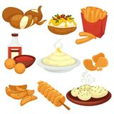 Potato food dishes snacks and cooked products vector flat icons. Potato food dishes, snacks and cooked products. Fast food French fries, baked grill with filling stock illustration