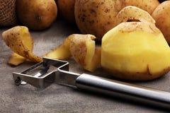 Potato food . Fresh raw organic potatoes. On old vintage background Royalty Free Stock Photos