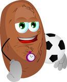 Potato with football or soccer ball Royalty Free Stock Image