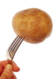 Potato on a fork. Hand holding Potato on a fork stock image