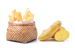 Potato and french fries in basket  on white background Stock Image