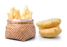 Potato and french fries in basket  on white background Royalty Free Stock Photography