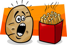 Potato with french fries cartoon Stock Image