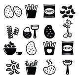 Potato, French fries, crisps, chips  icons set Royalty Free Stock Photos