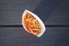 Potato Fries in High Angle Photography Stock Photo