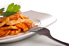Potato fries on a plate Stock Photography