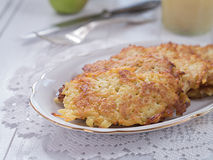 Potato fritter on a plate Royalty Free Stock Image