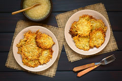 Potato Fritters with Apple Sauce Stock Images