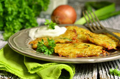 Potato fritters with,cheese,  green onion and herbs. Stock Image