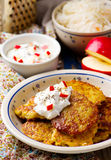 Potato fritters with cottage cheese Royalty Free Stock Images