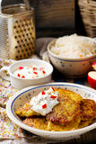 Potato fritters with cottage cheese Royalty Free Stock Photo