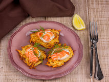 Potato fritters. Golden potato fritters with salmon served with creamy sauce Royalty Free Stock Photos