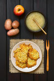 Potato Fritters or Pancakes with Apple Sauce Stock Photos