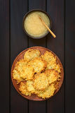 Potato Fritters or Pancakes with Apple Sauce Royalty Free Stock Images