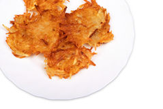 Potato fritters on plate Royalty Free Stock Photography