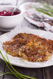 Potato fritters with red onion and spices Stock Image