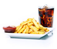 Potato fry with ketchup and cola drink Stock Photography