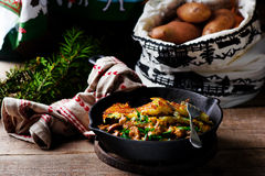 Potato galett  with draised beef Stock Image