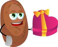 Potato with gift for Valentines Day Stock Photo