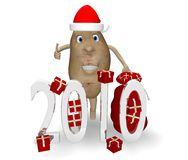 Potato with gifts for Christmas and New Year Royalty Free Stock Photography