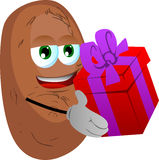 Potato giving you a gift box Stock Image