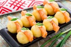 Potato gnocchi with salmon Royalty Free Stock Image