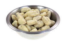 Potato gnocchi in stainless steel bowl Royalty Free Stock Photography