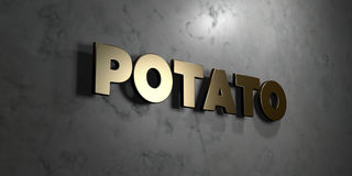Potato - Gold sign mounted on glossy marble wall  - 3D rendered royalty free stock illustration. This image can be used for an online website banner ad or a Royalty Free Stock Photos