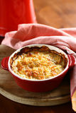 Potato gratin. Baked in a small red ceramic dish with a rustic setting Stock Photos
