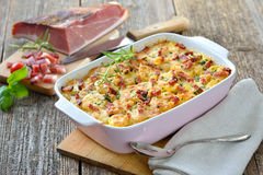 Potato gratin with bacon Stock Photography