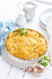 Potato gratin. With cream and garlic stock image
